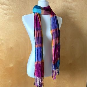 Accessories - Multi-Colored Plaid Light Fall Scarf or Shawl